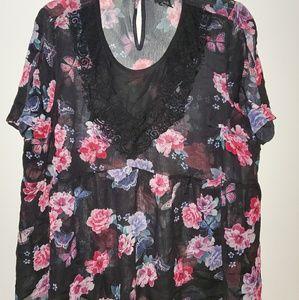 Flower short sleeved blouse